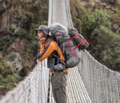 Suspension bridge on Annapurna Circuit - most popular tourists trek in Himalayan mountain massive in Nepal.