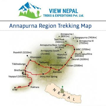 Map of Annapurna Base Camp Short Trek