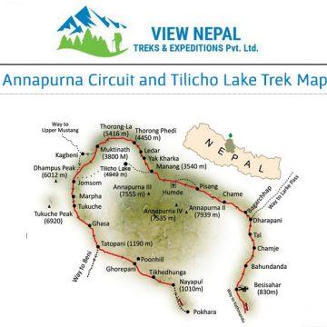 Map of Tilicho Lake Trekking