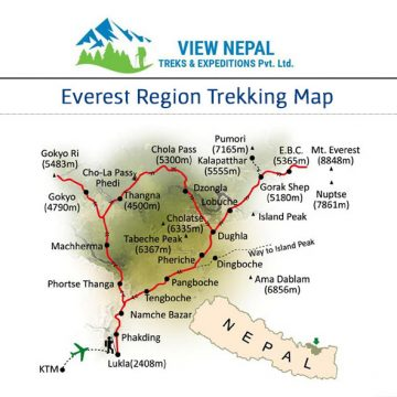 Map of Gokyo Lake Everest Base Camp Via Cho La Pass Trek