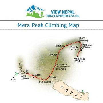 Map of Mera Peak Climbing
