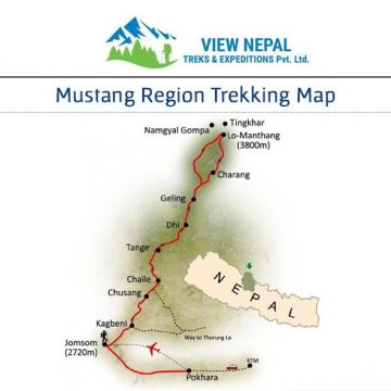 Map of Upper Mustang Trek
