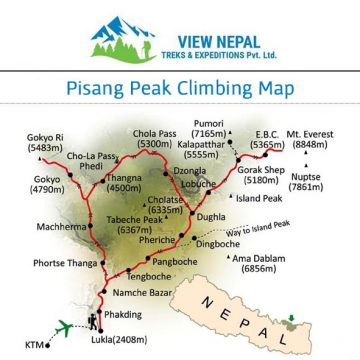 Map of Pisang Peak Climbing