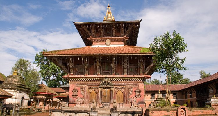 The temple of Changunarayan situated in Changu Village in Bhaktapur at about five kilometres north of Bhaktapur on a hill top. It is one of the finest and oldest specimens of pagoda architecture and is dedicated to the Hindu god, Vishnu. The temple is embellished by stone, wood, and metal crafts. The temple has great historical, archeological, and religious importance. It was constructed in 306 AD by King Mandev. A fifth century stone inscription in the temple proclaims it to be one of the oldest shrines in the Kathmandu Valley.