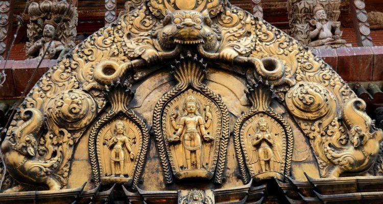 Kathmandu Changu Narayan 18 Lakshmi, Vishnu And Garuda On The Torana Above Main Entrance To Changu Narayan Temple