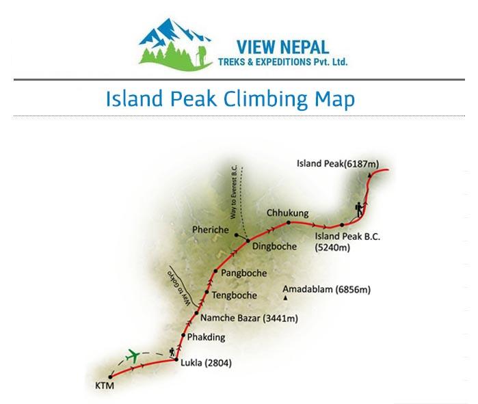 Map of Island Peak Climbing
