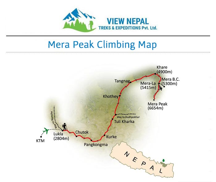 Map of Mera Peak Climbing