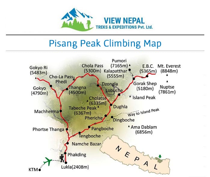 Map of Pisang Peak Climbing