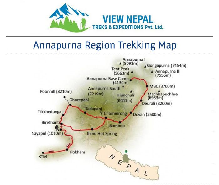 Map of Annapurna Sanctuary Trekking