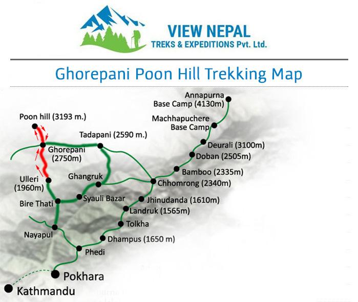 Map of Ghorepani Poon Hill Trek