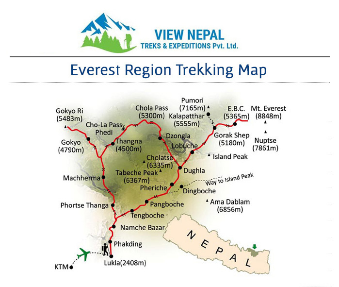 Map of Everest Base Camp Kalapathar Trek