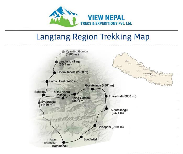 Map of Langtang Gosainkunda Trek