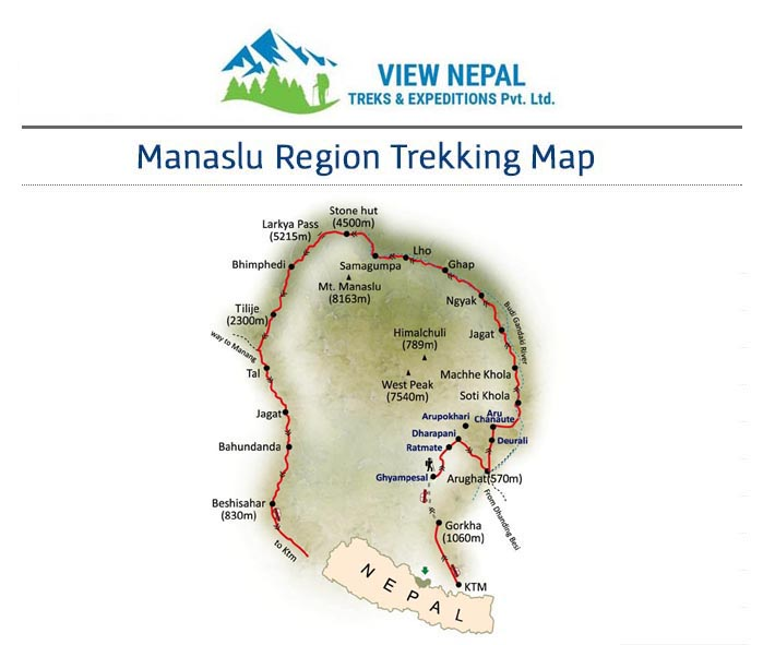 Map of Manaslu Trekking