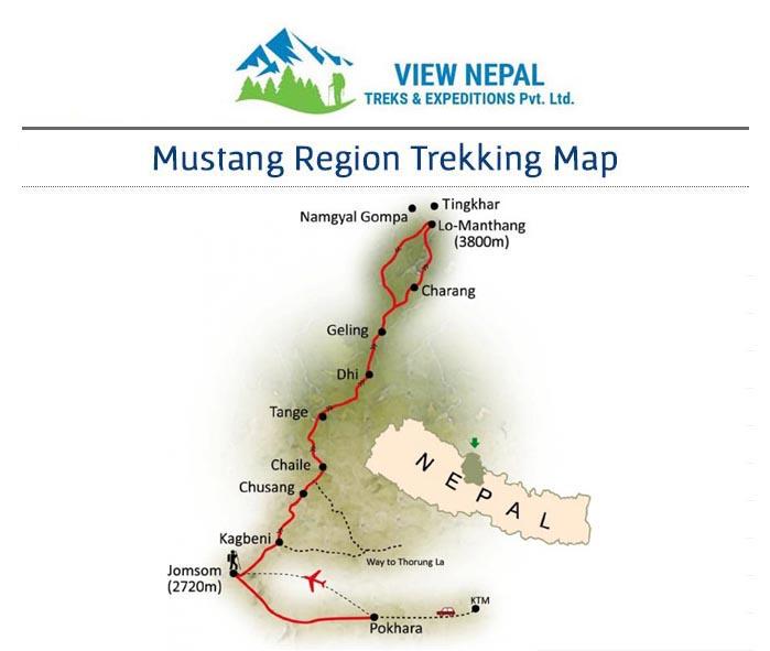 Map of Upper Mustang Trek